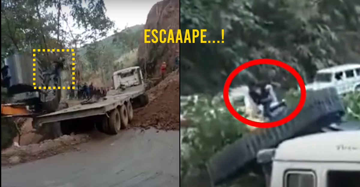 Brilliant reflexes! Driver jumps off at the last second from JCB falling into a valley