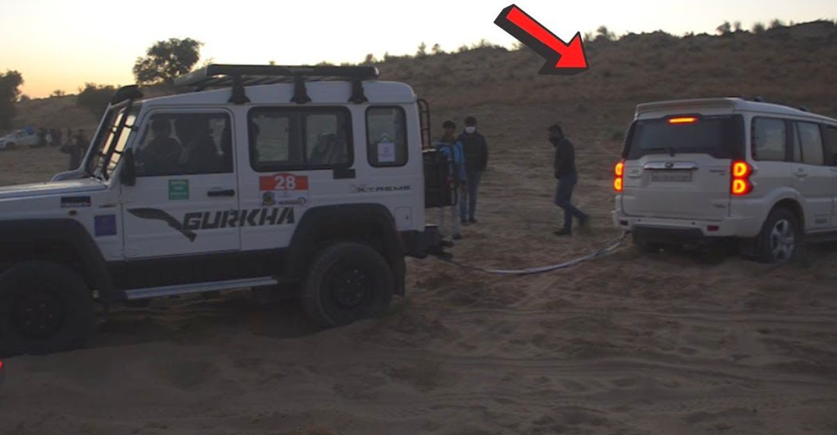 Watch Mahindra Scorpio get rescued by Force Gurkha after getting stuck in Sand