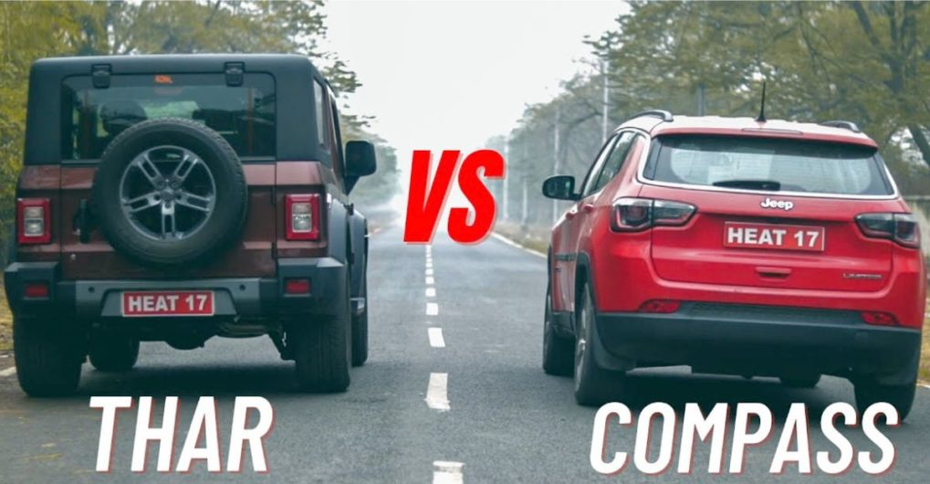 All-new Mahindra Thar takes on a Jeep Compass in a classic drag race - CarToq.com
