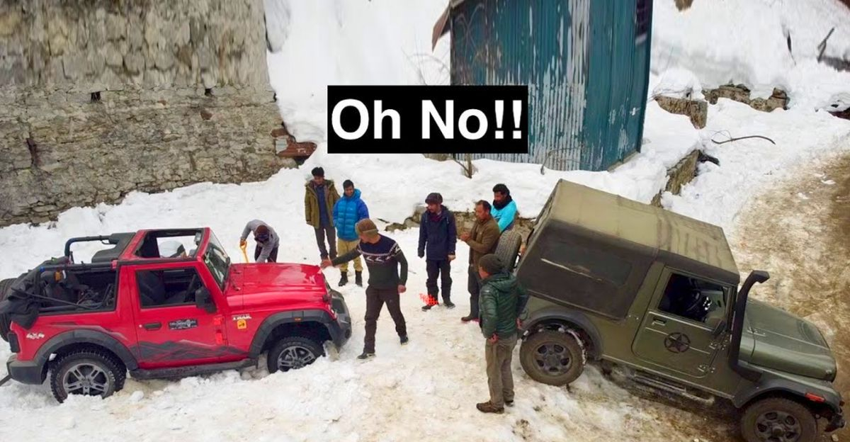 All-new Mahindra Thar gets stuck in snow: Old-gen Thar comes to rescue