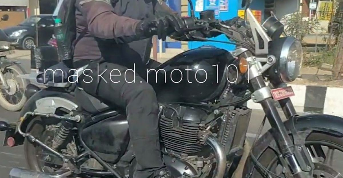 Royal Enfield KX 650 cruiser motorcycle spied on video