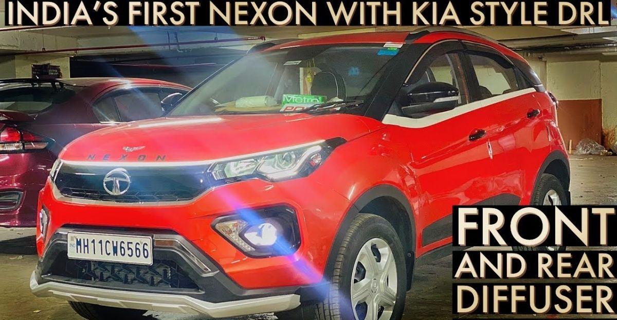 Tata Nexon modified with Kia Seltos-style DRL