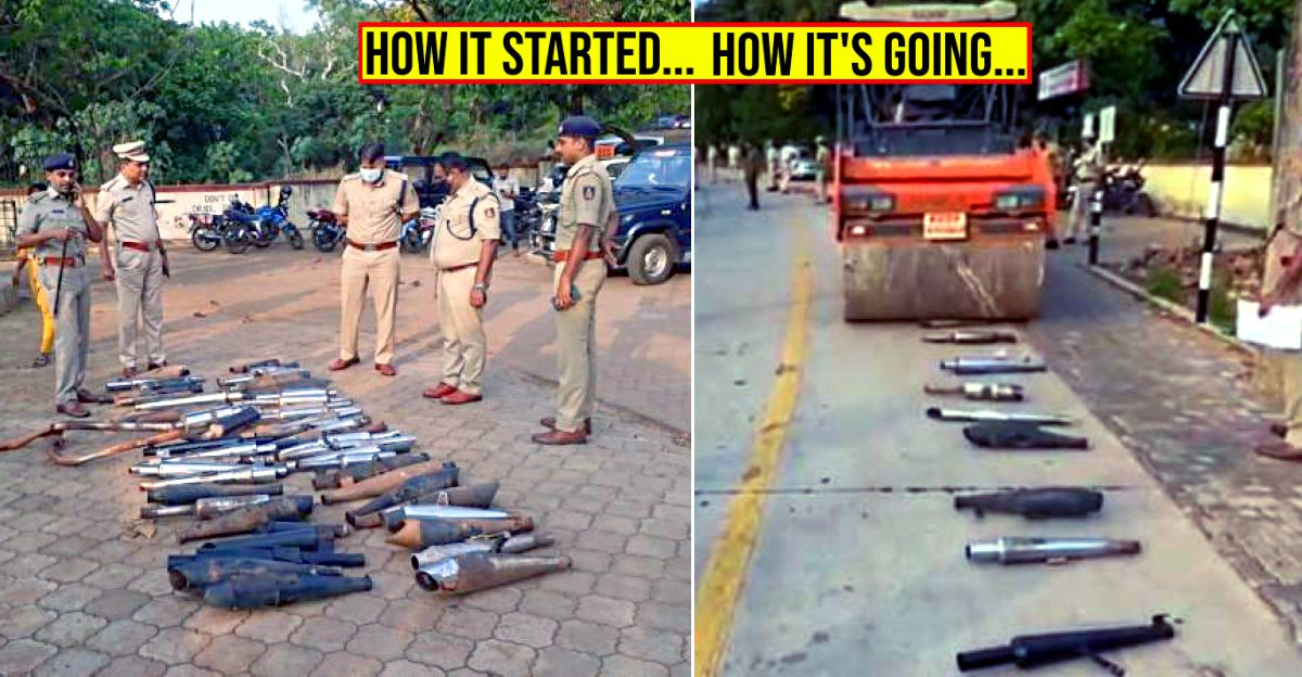 Police seize 51 aftermarket silencers & crush them using a Roadroller