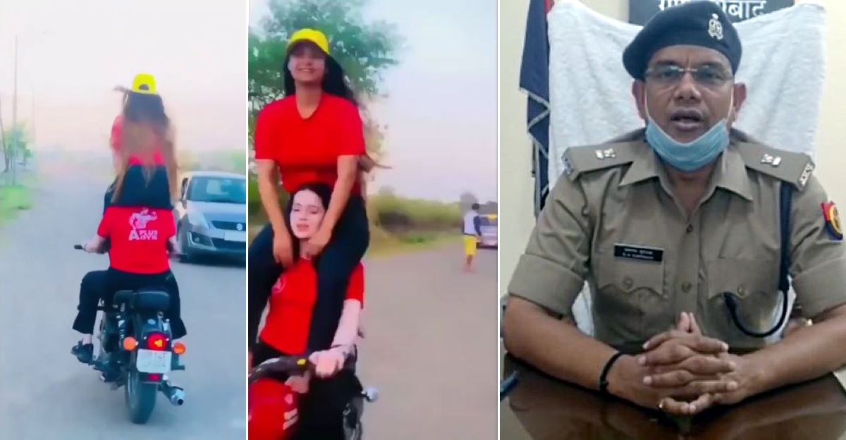 Girls' stunt on Royal Enfield becomes viral: Cops issue hefty challan of Rs 11,000