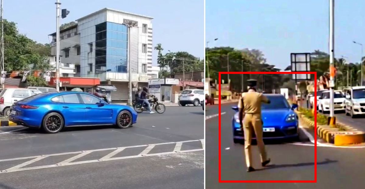 Moviestar Dulquer Salmaan's Porsche Panamera made to go back for wrong way driving [Video]