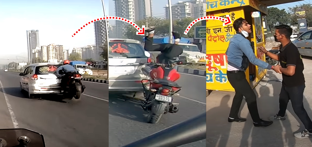 Helmet saves biker who rear-ended car that stopped suddenly [Video]