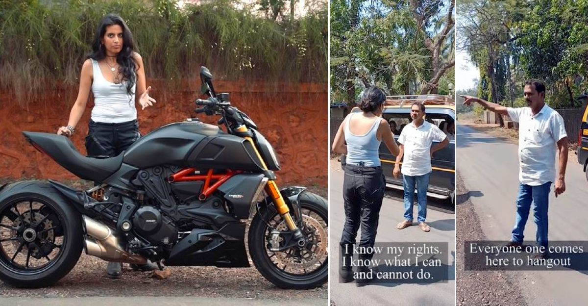 Angry Indian villager vs biker girl on a Ducati Diavel superbike [Video]