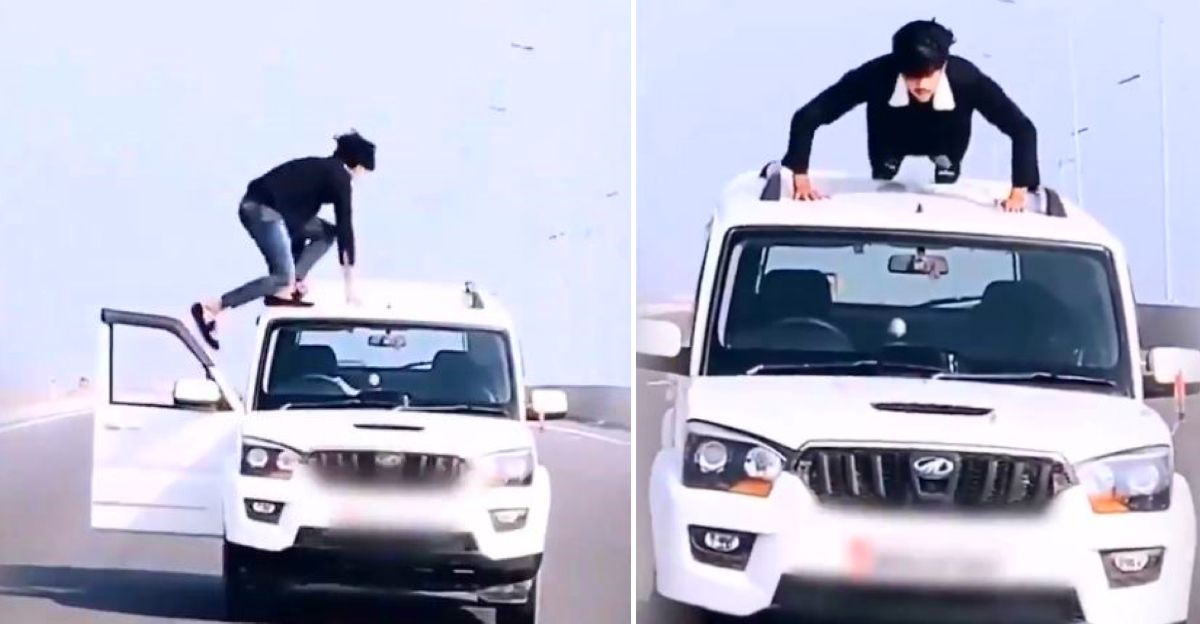 UP Police arrests man doing push-ups on a moving Mahindra Scorpio SUV