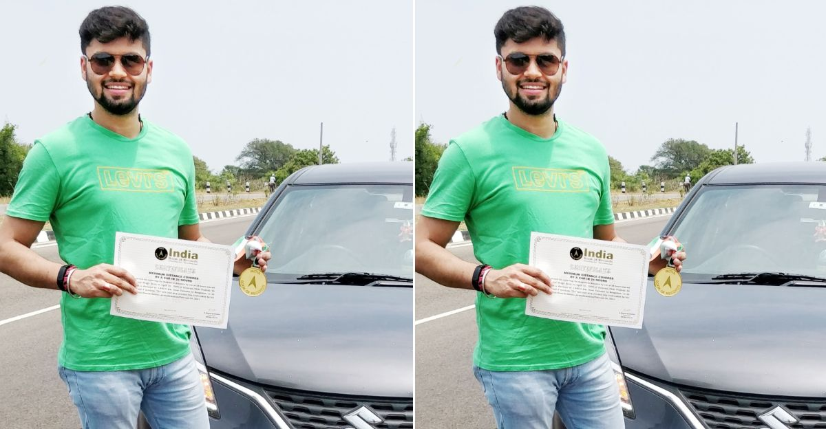 Pranjal Singh in a Maruti Suzuki Baleno sets record for longest road trip in a hatchback: 1850 Kms in 22 hours