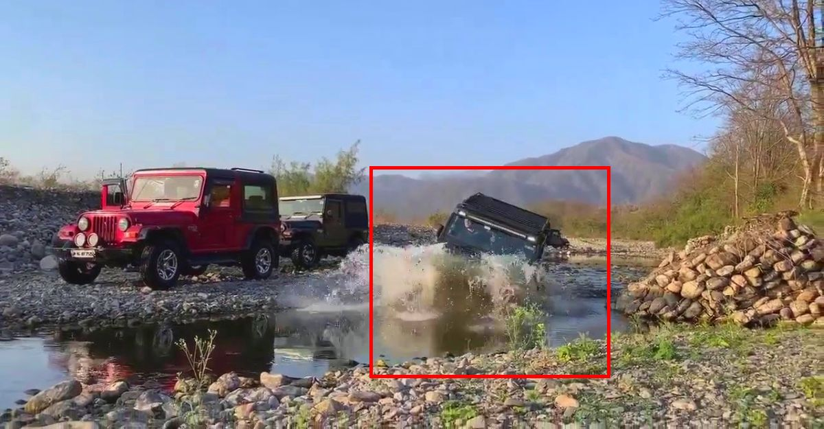 All-new Mahindra Thar goes through a stream without a snorkel