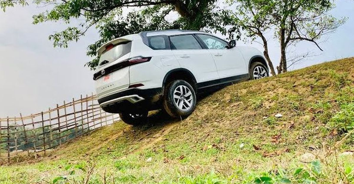 Owner attempts a steep off road obstacle in his new Tata Safari SUV