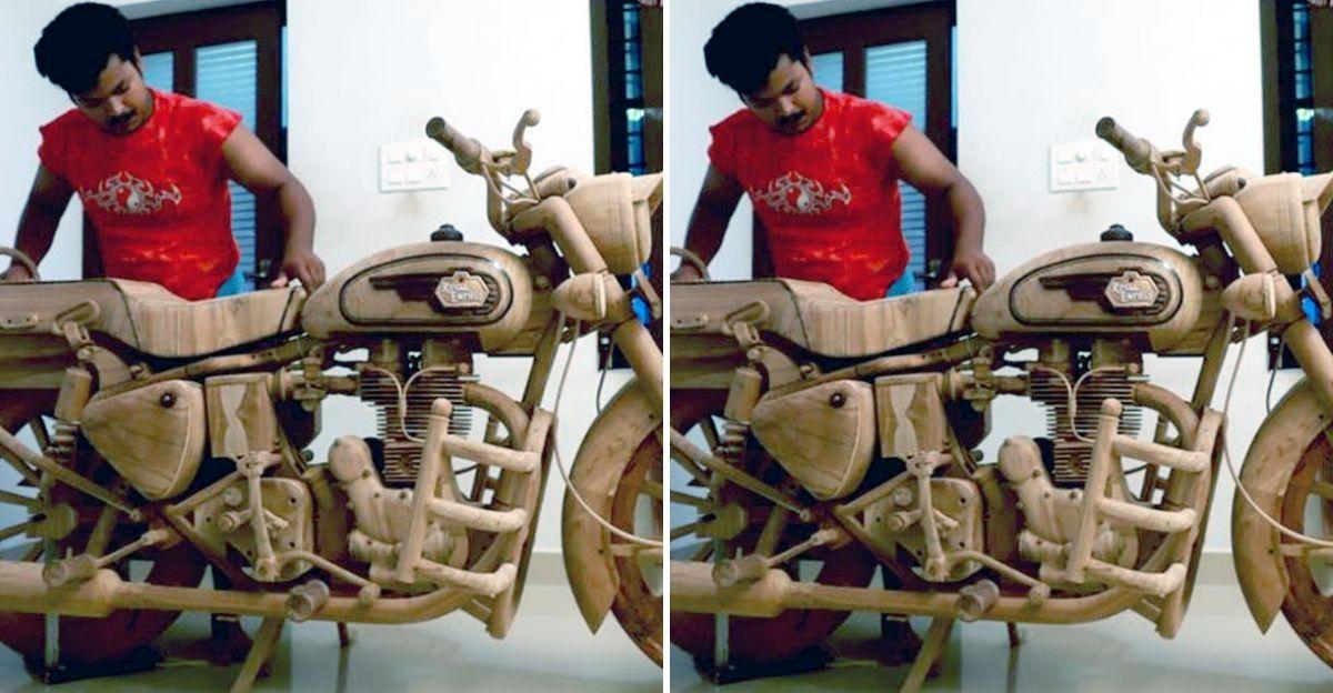 Kerala man carves Royal Enfield Bullet model from wood