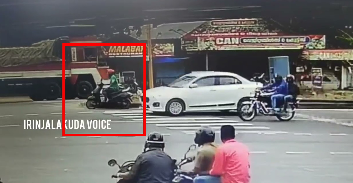 Scooterist narrowly misses a major accident & joins rescue effort immediately