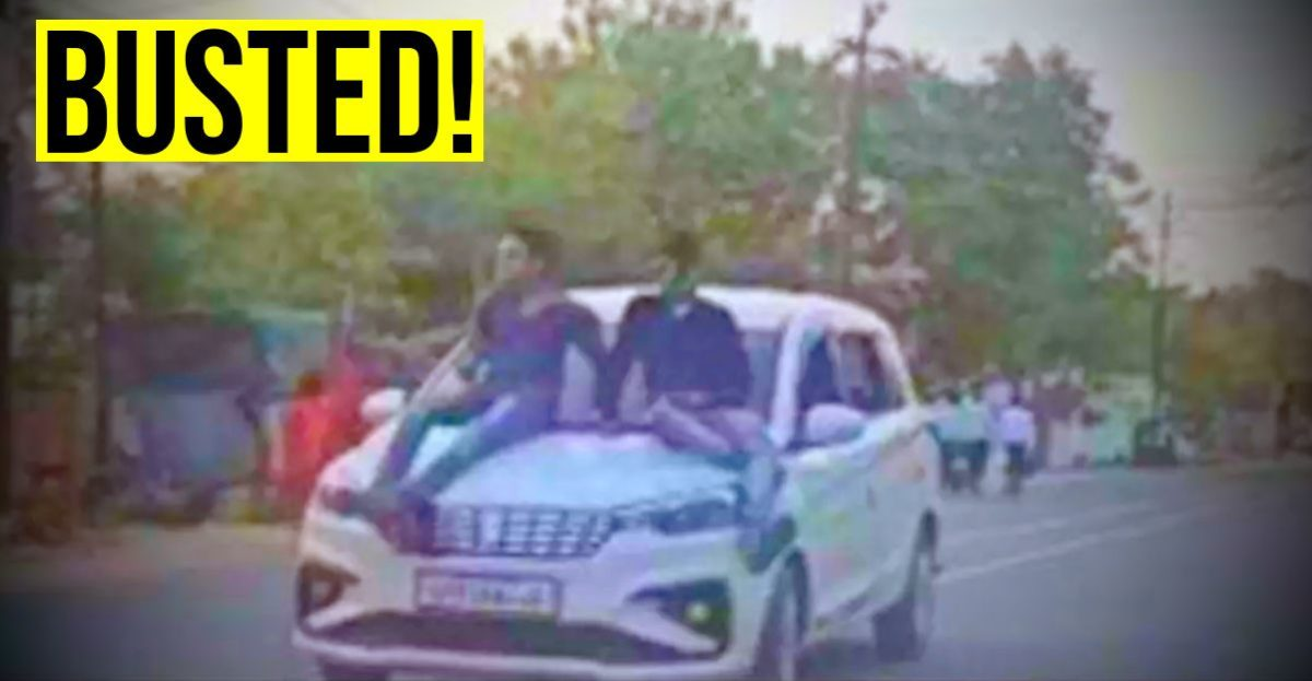 Youngsters take selfies on moving car's bonnet: Fined Rs. 7,500