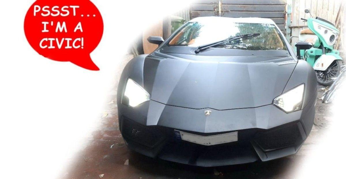 Honda Civic sedan modified into a Lamborghini Aventador replica supercar