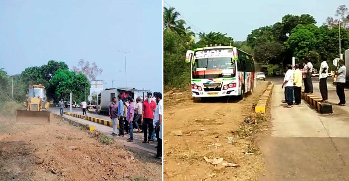 Angry with toll, villagers use JCB to bypass toll gate