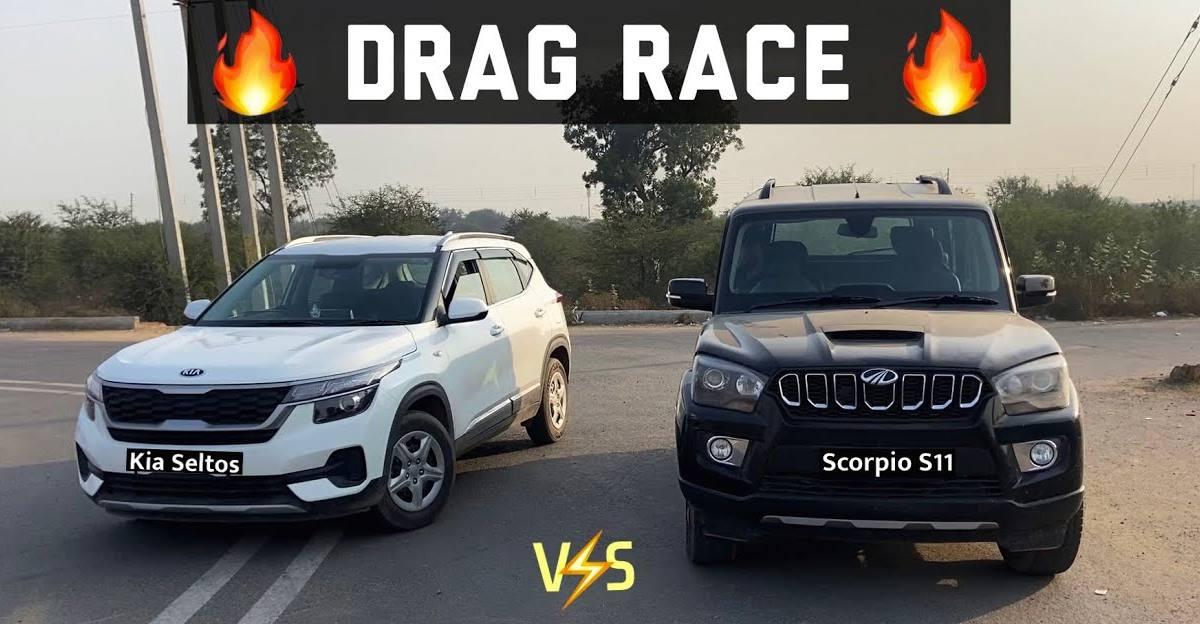 Kia Seltos takes on the Mahindra Scorpio in a drag race