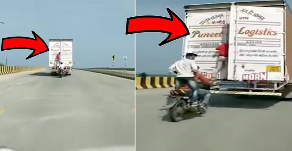 Robbers on motorcycle pull off Fast&Furious style truck robbery in India