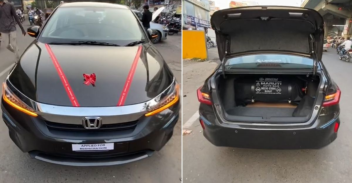 Brand new 2021 Honda City installed with aftermarket CNG kit