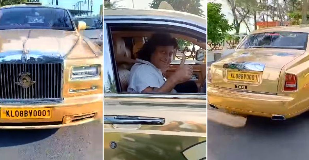 Billionaire driving India's first and only golden Rolls Royce taxi