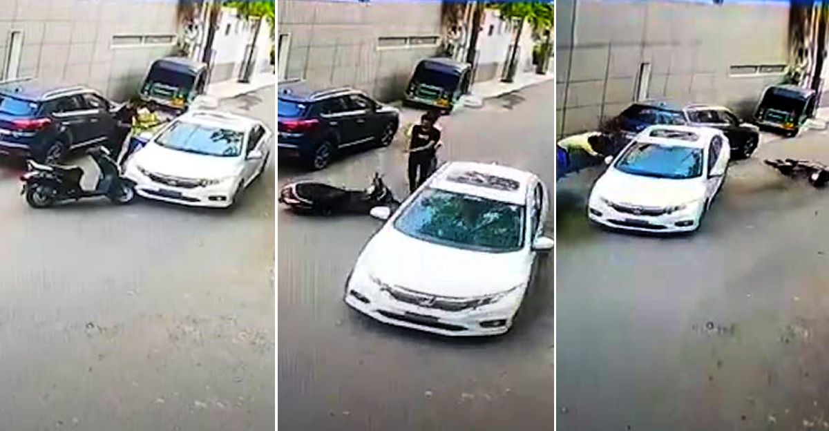 Honda City driver tries to crush two people on a scooter in Rajkot after road rage