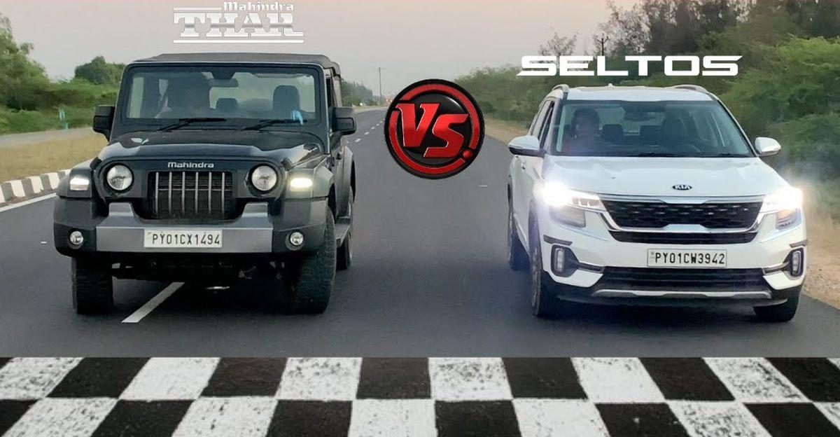 2020 Mahindra Thar vs Kia Seltos in a drag race