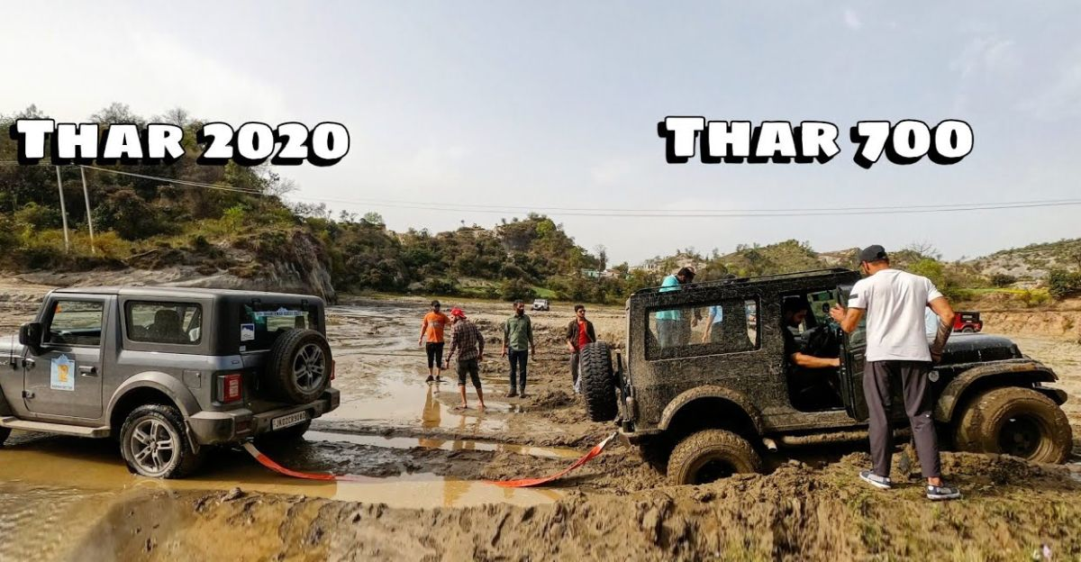 Old Mahindra Thar stuck: New Thar to the rescue