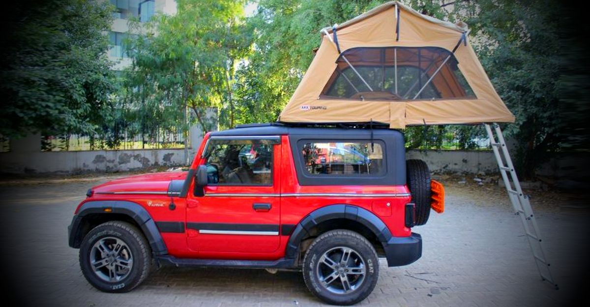 2020 Mahindra Thar 4X4 with roof top tent looks adventure-ready