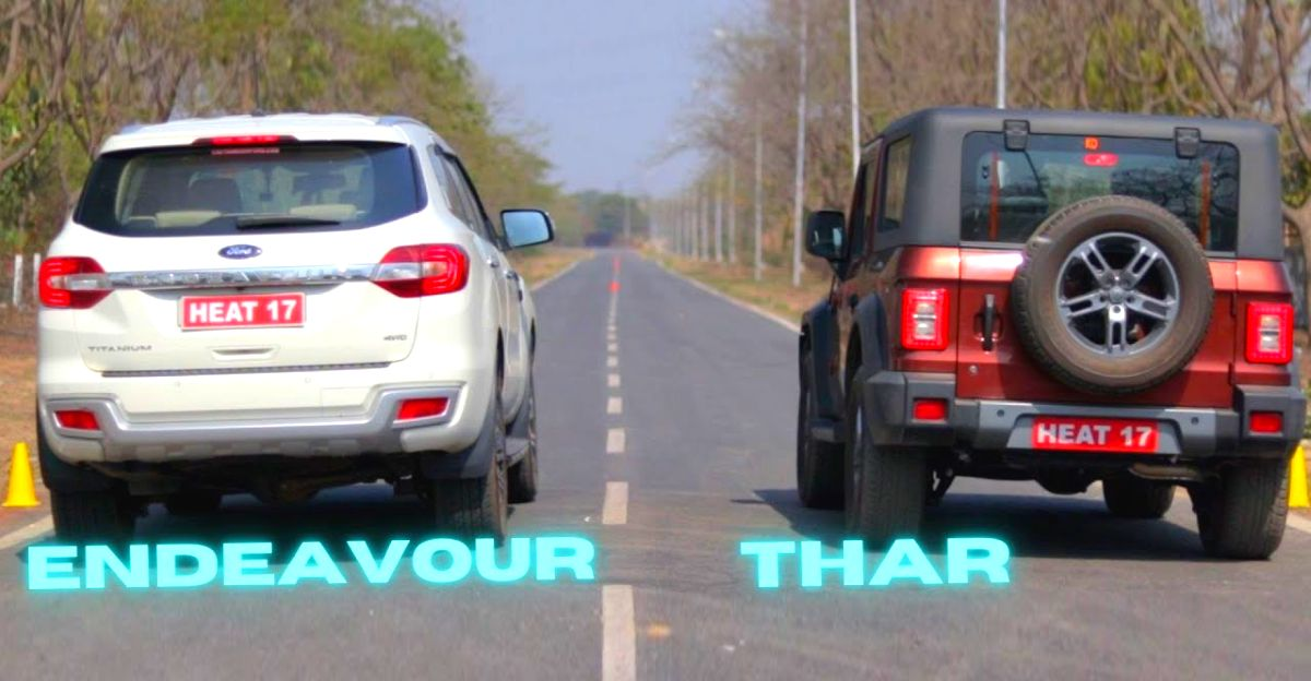 Mahindra Thar vs Ford Endeavour in a drag race