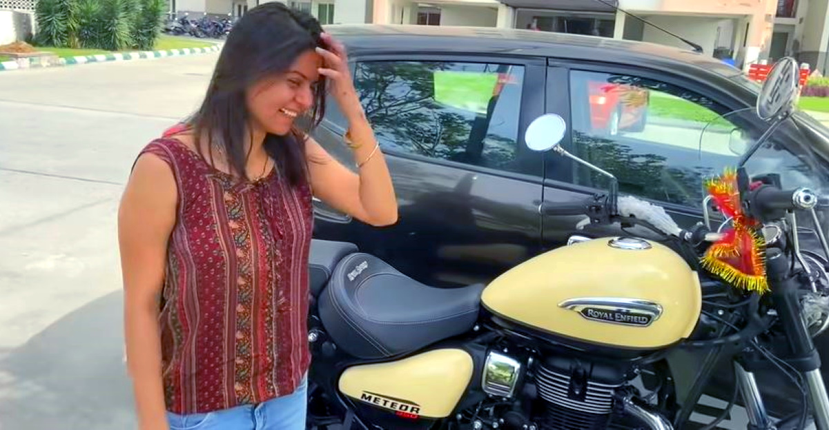 Husband gifts wife a Royal Enfield Meteor 350: Tears of Joy [Video]