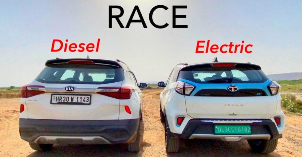 Can the Tata Nexon EV defeat the Kia Seltos Diesel in a basic drag race? [Video]