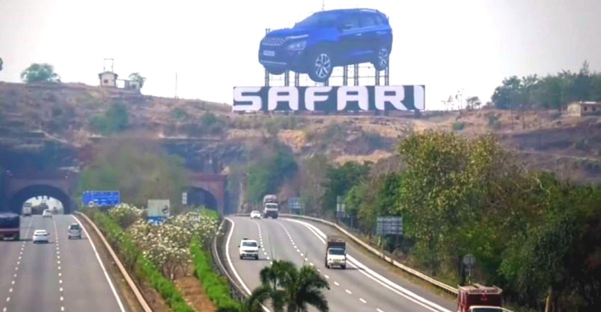 All-new Tata Safari gets India's biggest car hoarding on Mumbai Pune expressway