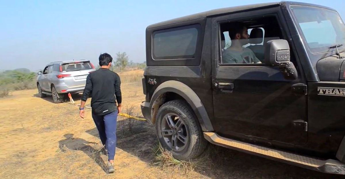 New Mahindra Thar stuck: Toyota Fortuner to the rescue