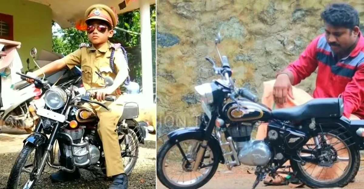 Dad builds 'mini' Royal Enfield Bullet electric for son