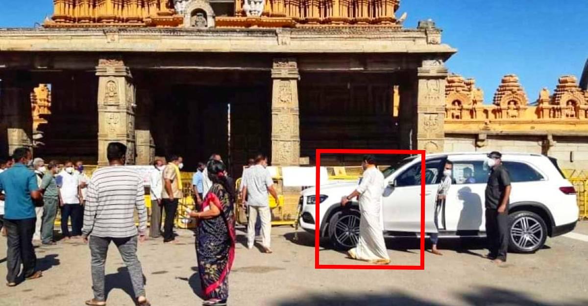 Karnataka CM's son breaks lockdown in Mercedes Benz GLS to visit temple