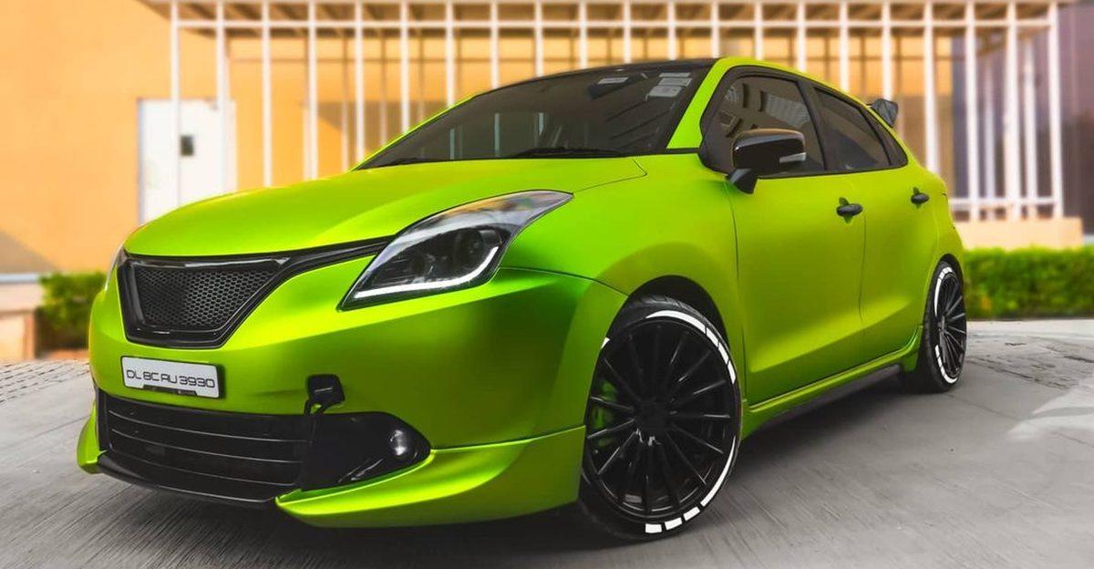 Maruti Suzuki Baleno wrapped in Lime Green looks SICK