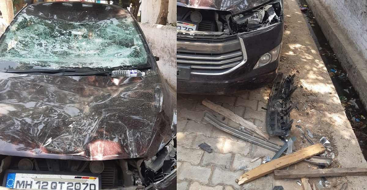 Cops try to arrest accused: Criminals brutally damage Toyota Innova Crysta of cops in retaliation