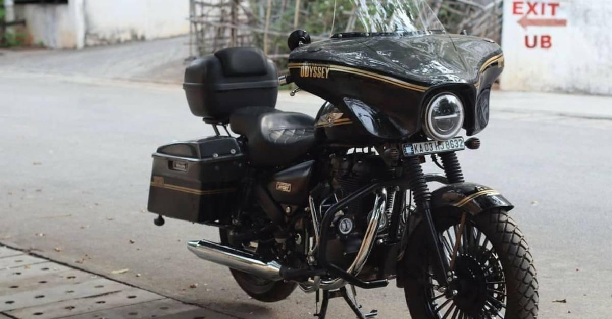 Royal Enfield Thunderbird modified to look like a Harley-Davidson CVO