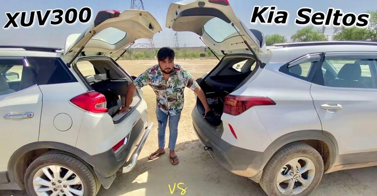 Kia Seltos diesel vs Mahindra XUV300 diesel in a tug of war [Video]