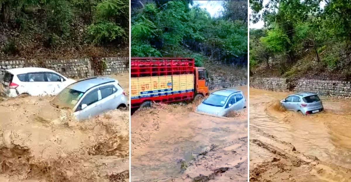 India's bravest Hyundai Grand i10 driver shows how to 'float' across a flooded road