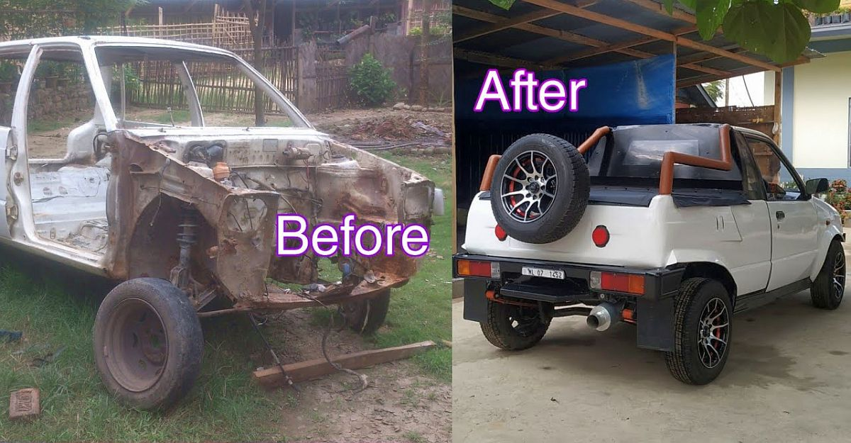 Maruti 800 rescued from the scrapyard & rebuilt into a pick up truck