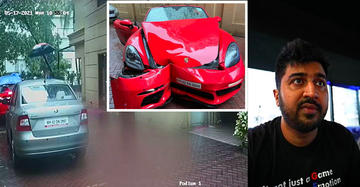 Porsche 718 Boxster crash during Cyclone Tauktae: Owner shares CCTV footage