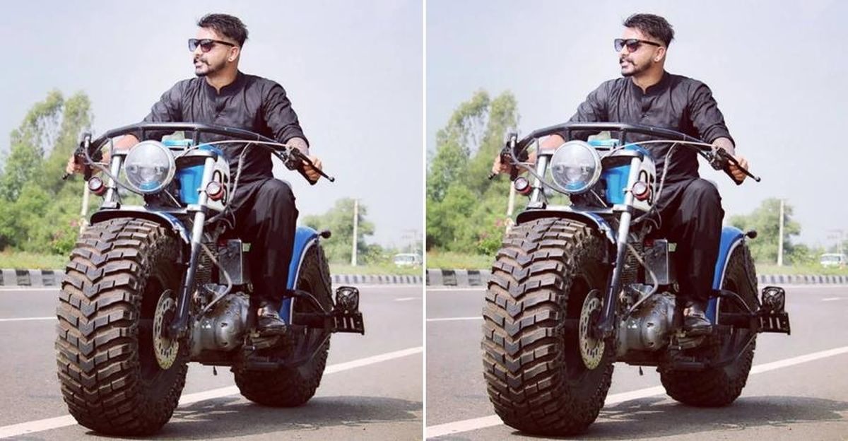 Royal Enfield motorcycle modified with tractor tyres looks absolutely extreme