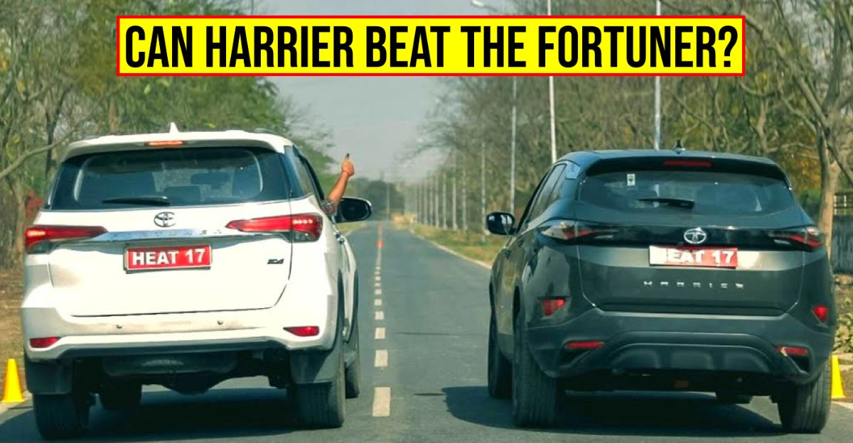 Tata Harrier and Toyota Fortuner in an epic drag Race