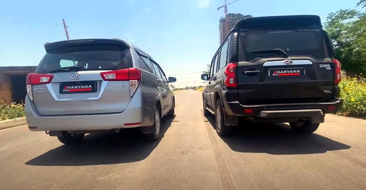 Mahindra Scorpio vs Toyota Innova Crysta in a drag race video