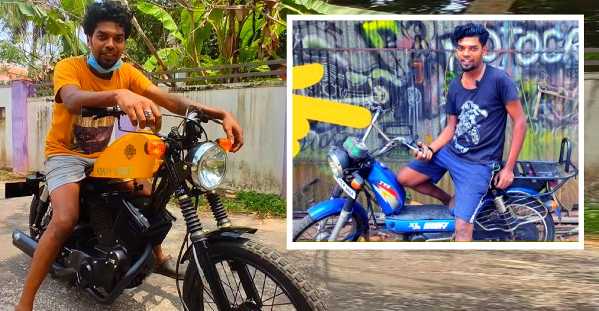 Humble TVS XL moped transformed into a Harley Davidson 48 at home