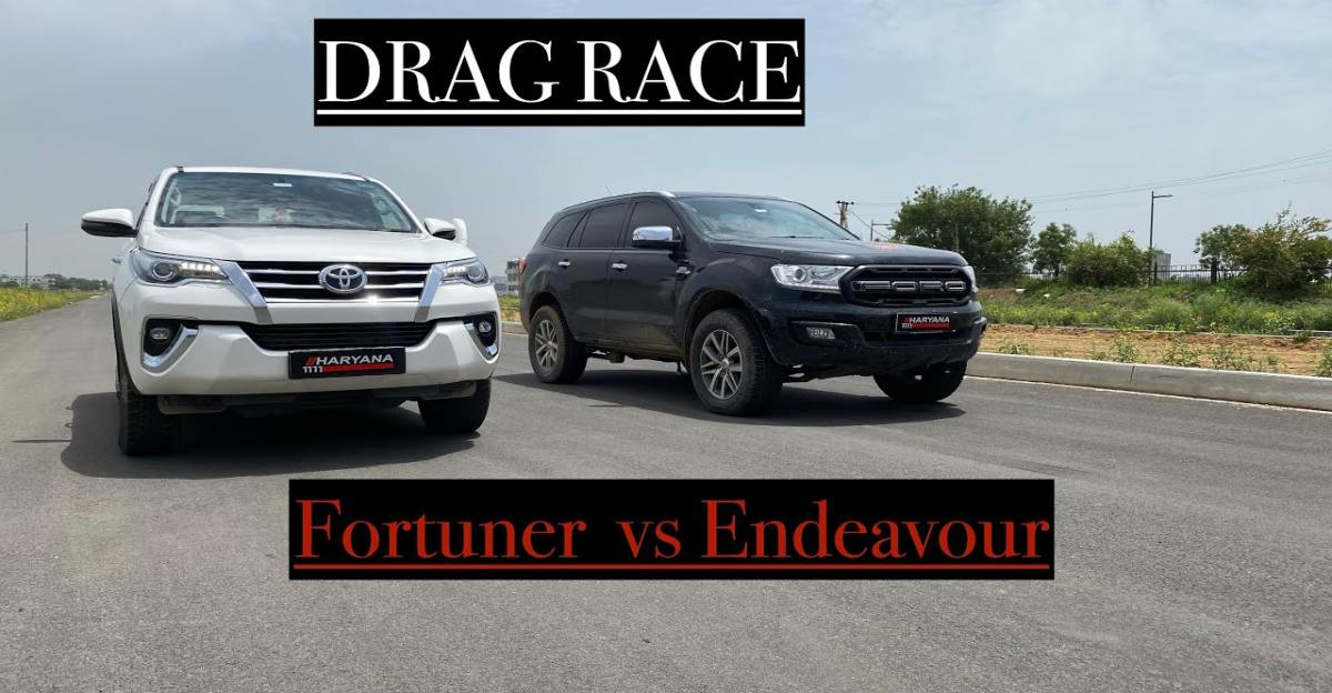 Ford Endeavour 3.2 vs Toyota Fortuner in a drag race
