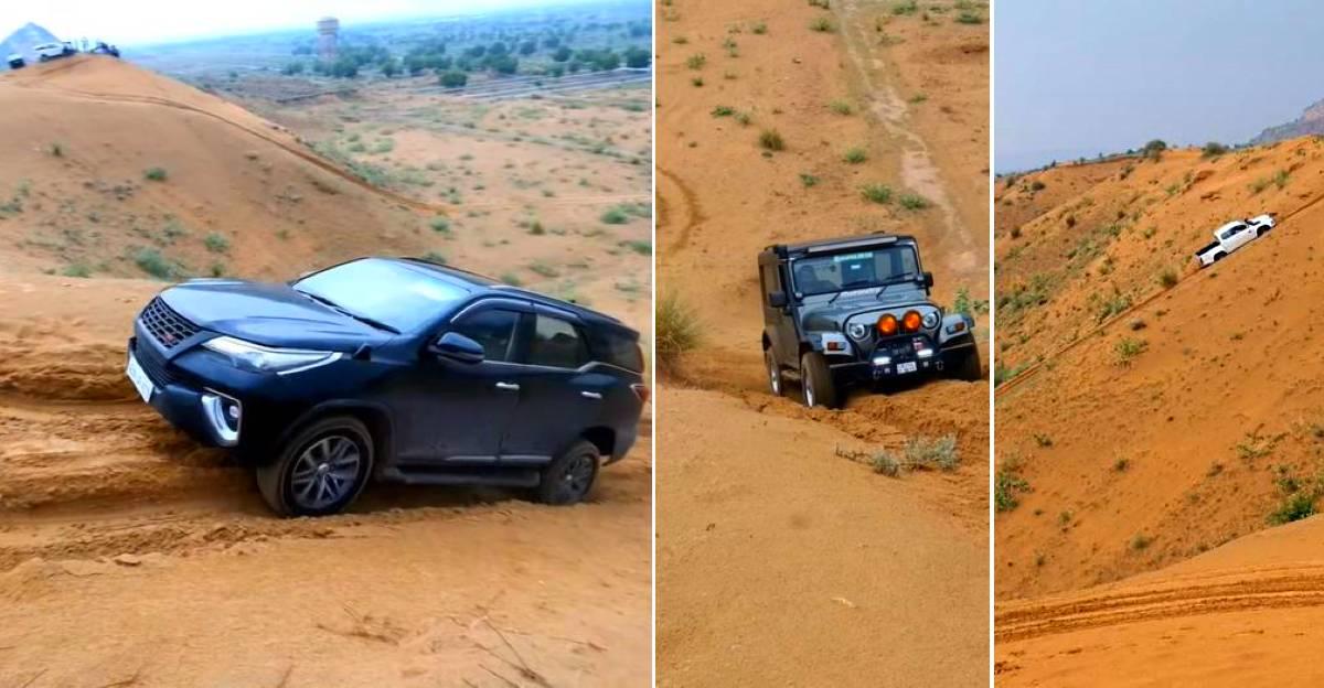 Toyota Fortuner vs Mahindra Thar vs Isuzu V-Cross in the 'Dune Test' [Video]