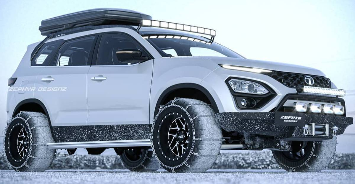 Off-road ready Tata Safari SUV modified with snow chains: What it'll look like
