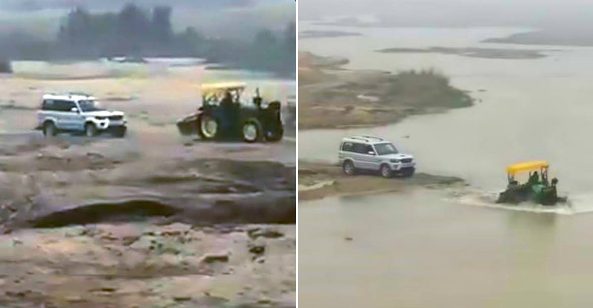 Cops in Mahindra Scorpio chase a Sand Mafia Tractor: Tractor driver outwits cops [Video]